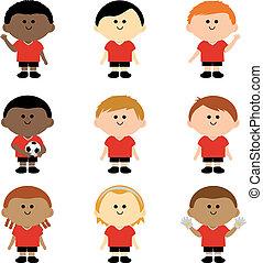 players., ilustracja, wektor, drużyna, piłka nożna, dzieci