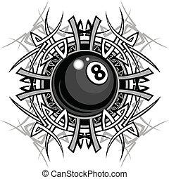 plemienny, graficzny, osiem, bilard, piłka