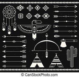 plemienny, indyjska amerikanka, element., krajowiec