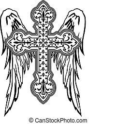 plemienny, projektować, krzyż, skrzydło