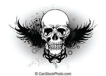 plemienny, skrzydło, czaszka