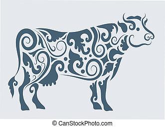plemienny, wektor, projektować, krowa