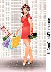 plus, kobieta shopping, fason, rozmiar