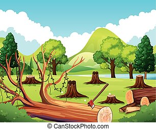 pniak, las, drzewa, scena
