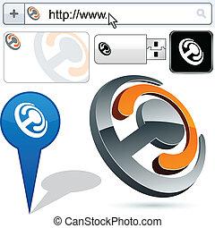 połączenie, handlowy, logo, 3d, design.