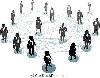 połączenie, ludzie, wierzchołki, handlowy, sieć