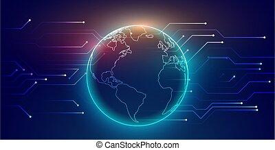 połączenie, sieć, palcowy zamiar, globalny, technologia, tło