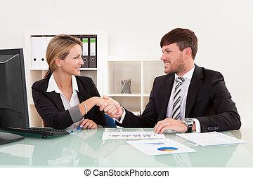 połączenie, spotkanie, handlowy, ryzyko