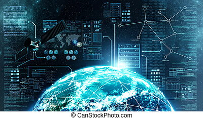 połączenie, zewnętrzny, internet, przestrzeń
