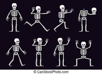położenie, różny, halloween, szkielet, rysunek