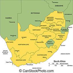 południowa afryka, okręgi, administracyjny, okoliczny, kraje