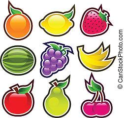 połyskujący, barwny, owoce