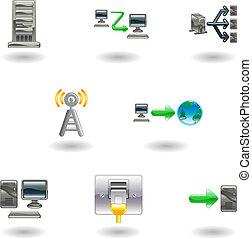 połyskujący, sieć, komputerowa ikona, komplet