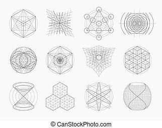 poświęcony, symbolika, geometria, elementy, set.