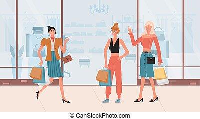 po, dziewczyny, zakupy, torebka damska, pieszy, dzierżawa, fason