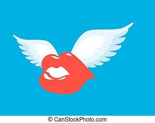 pocałunek, wings., skrzydlaty, romantyk, lips., character., przelotny, powietrze