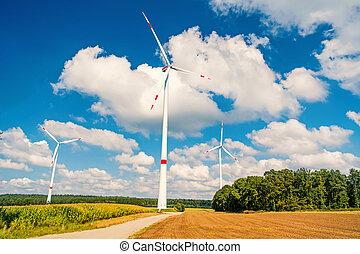pochmurne niebo, turbiny, pole, błękitny