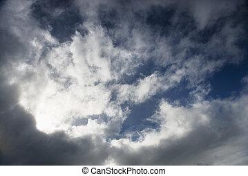 pochmurny, sky.