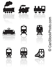pociąg, symbol, wektor, set.