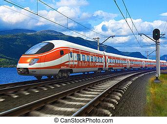 pociąg, szybkość, wysoki