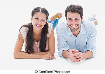 pociągający, para, uśmiechanie się, aparat fotograficzny, młody