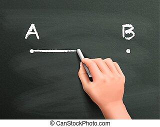 pociągnięty, b, ręka, kropka