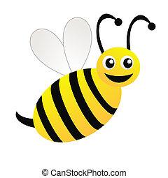 pociągnięty, biały, zabawny, tło, pszczoła