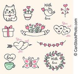 pociągnięty, elementy, ręka, valentine