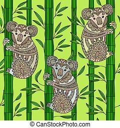 pociągnięty, koala., wektor, ręka, zentangle