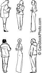 pociągnięty, kobiety, mężczyźni, figury, ręka