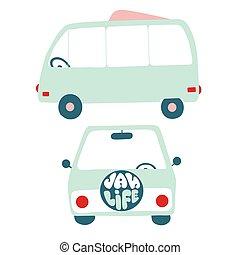 pociągnięty, pojazd, wektor, ilustracja, płaski, retro, ręka, awangarda