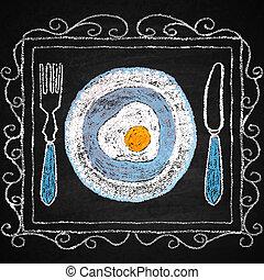 pociągnięty, ręka, menu, elements., restauracja