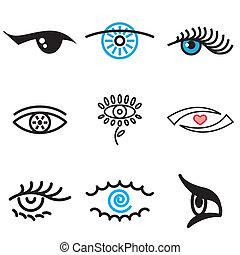 pociągnięty, ręka, oko, ikony