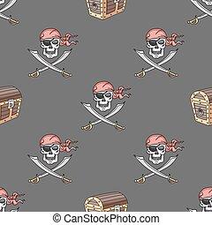 pociągnięty, ręka, seamless, pirat, próbka