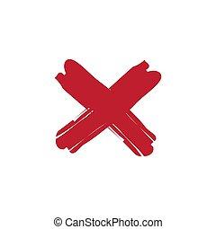 pociągnięty, uderzenie, ręka, poznaczcie., grunge, szczotka, krzyż, mark., brudny, x, wektor, czerwony