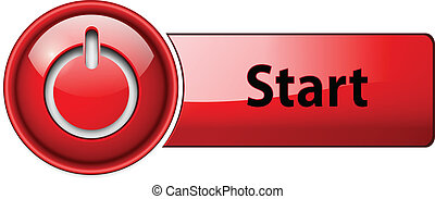 początek, button., ikona