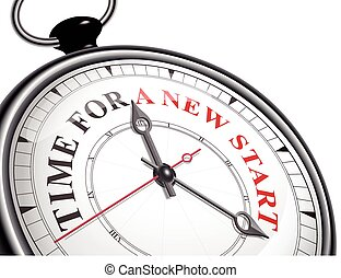 początek, pojęcie, czas, nowy, zegar