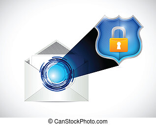 poczta, bezpieczeństwo, projektować, ilustracja