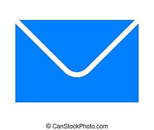 poczta, -, ikona, błękitny, odizolowany, prosty, symbol, wektor