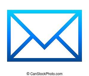 poczta, -, ikona, błękitny, odizolowany, szkic, symbol, nachylenie, wektor
