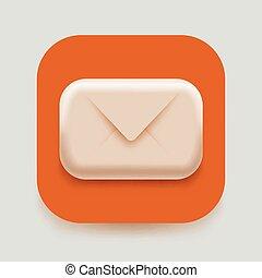 poczta, illustration., spam, concept., nowoczesny, email, wektor, litera, icon., albo, 3d