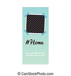 poczta, media, historia, szablon, fotografia, towarzyski, ułożyć, hashtag, dom