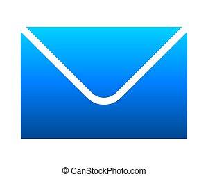poczta, nachylenie, -, ikona, błękitny, odizolowany, symbol, wektor