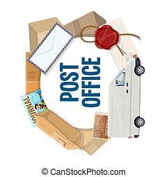 poczta, paczka, opłata pocztowa, wózek, doręczenie, litera, tłoczyć