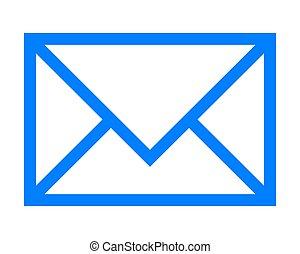 poczta, prosty, -, ikona, błękitny, odizolowany, szkic, symbol, wektor