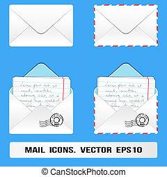 poczta, set., wektor, e, ikony
