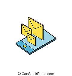 poczta, smartphone, koperty