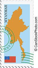 poczta, to/from, myanmar