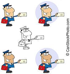 pocztowy pracownik, człowiek, poczta