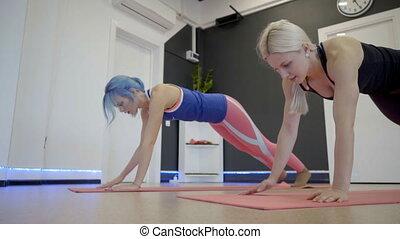 podłoga, dwa, lekkoatletyka, club., deska, ruch, kobiety